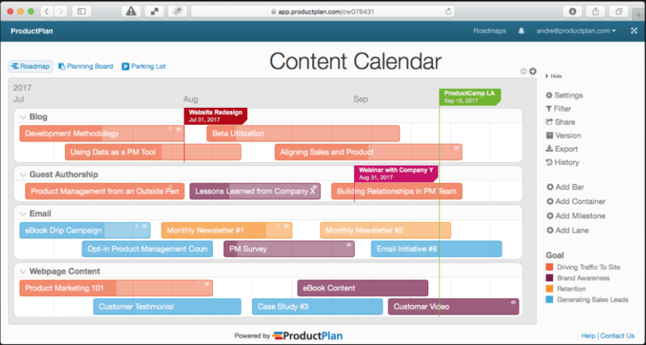 content marketing calender example